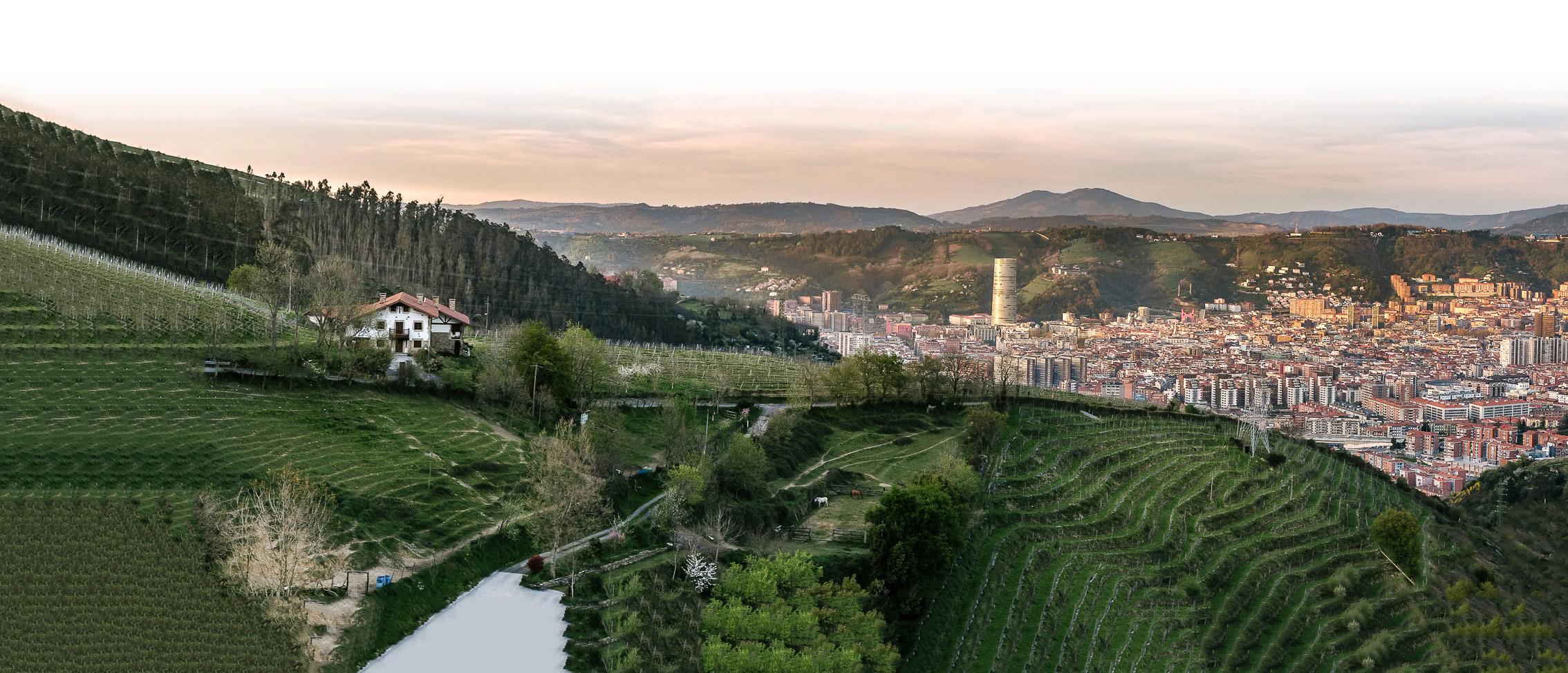 Txakoli Bilbao Munetaberri paisaje ciudad